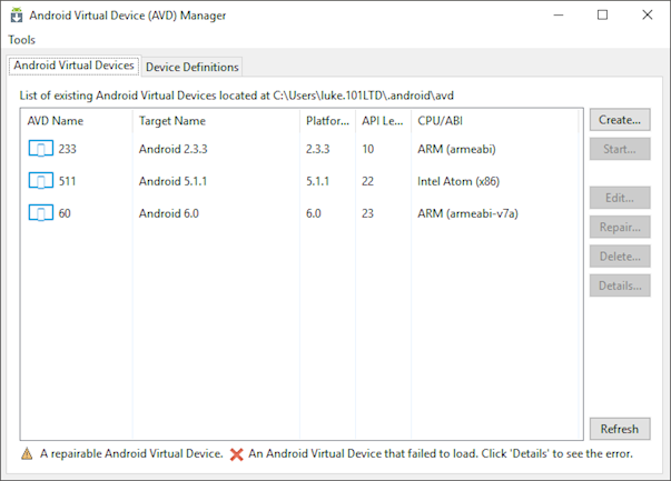 List of Android virtual devices with mixed CPUs