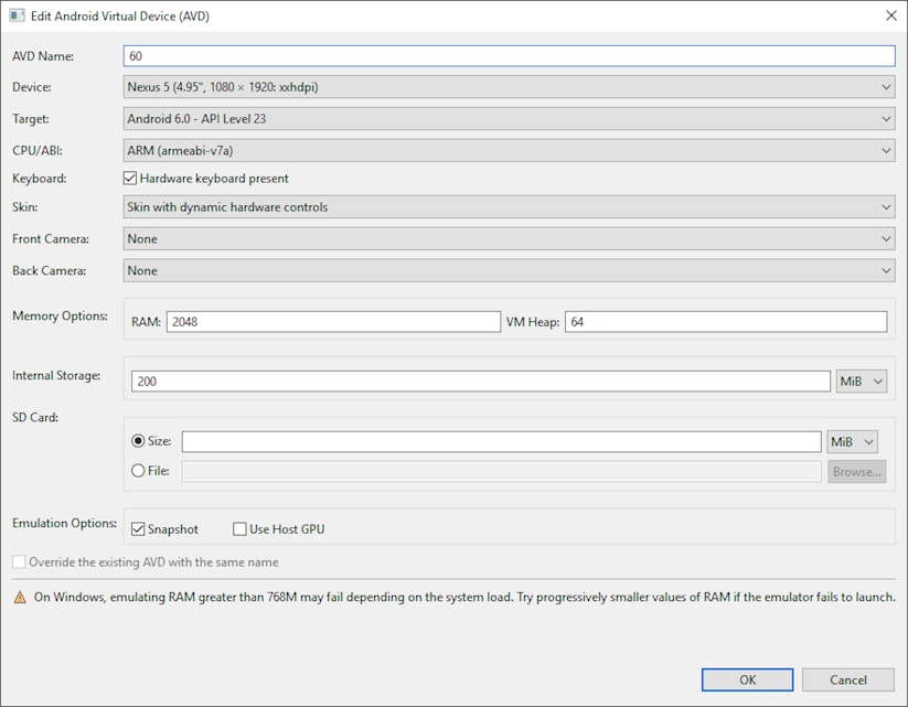 Edit a virtual Android device settings and configuration